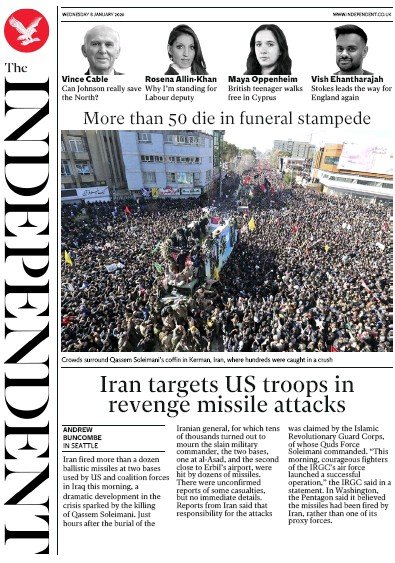 The Independent Newspaper Front Page (UK) for 8 January 2020