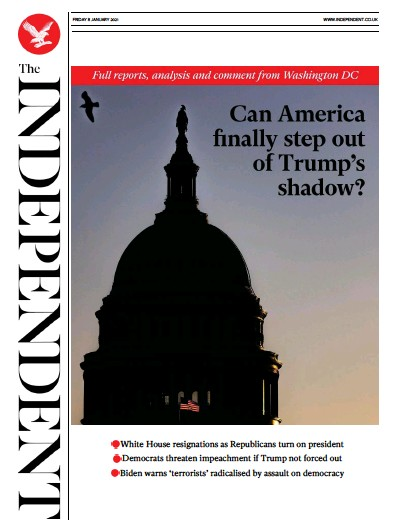 The Independent Newspaper Front Page (UK) for 8 January 2021