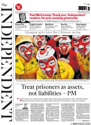 The Independent (UK) Newspaper Front Page for 8 February 2016