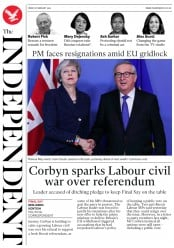 The Independent (UK) Newspaper Front Page for 8 February 2019