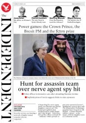 The Independent (UK) Newspaper Front Page for 8 March 2018