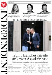 The Independent (UK) Newspaper Front Page for 8 April 2017