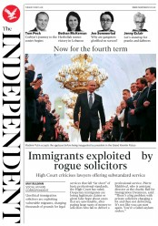 The Independent (UK) Newspaper Front Page for 8 May 2018
