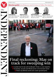 The Independent (UK) Newspaper Front Page for 8 June 2017