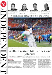 The Independent (UK) Newspaper Front Page for 8 July 2019