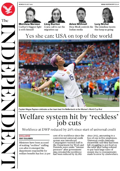 The Independent Newspaper Front Page (UK) for 8 July 2019