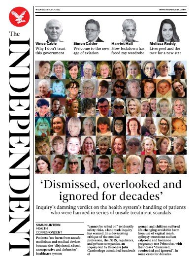 The Independent Newspaper Front Page (UK) for 8 July 2020