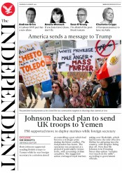 The Independent () Newspaper Front Page for 8 August 2019