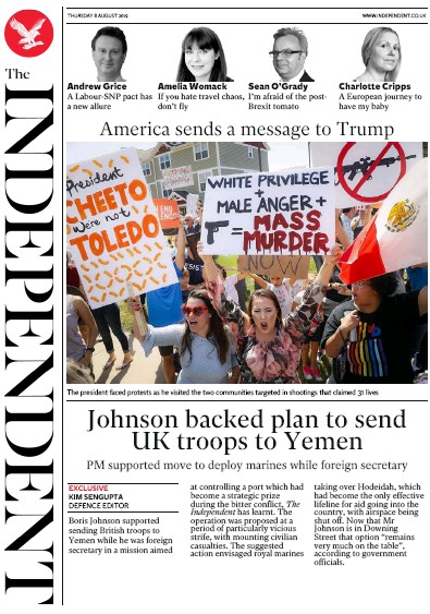 The Independent Newspaper Front Page (UK) for 8 August 2019