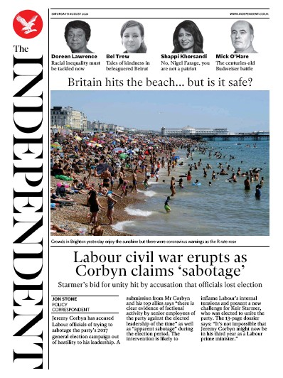 The Independent Newspaper Front Page (UK) for 8 August 2020