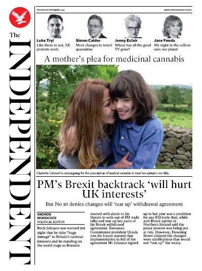The Independent Newspaper Front Page (UK) for 8 September 2020