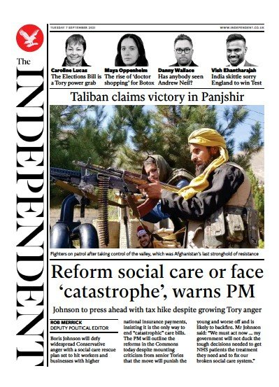 The Independent (UK) Front Page for 10 September 2021