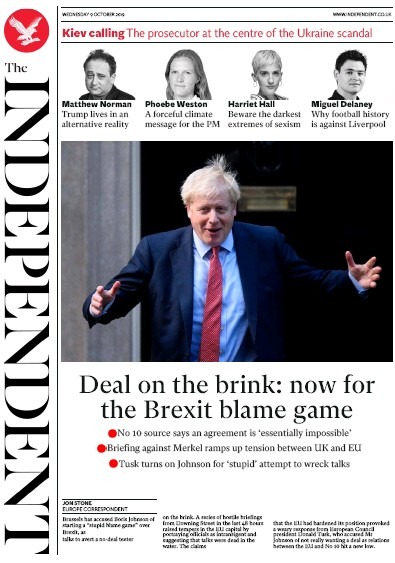 The Independent Newspaper Front Page (UK) for 9 October 2019