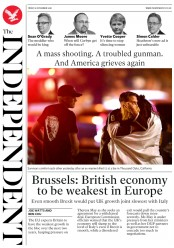 The Independent (UK) Newspaper Front Page for 9 November 2018
