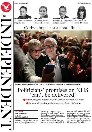 The Independent Newspaper Front Page (UK) for 9 December 2019