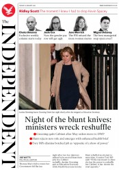 The Independent (UK) Newspaper Front Page for 9 January 2018