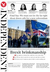 The Independent () Newspaper Front Page for 9 January 2019