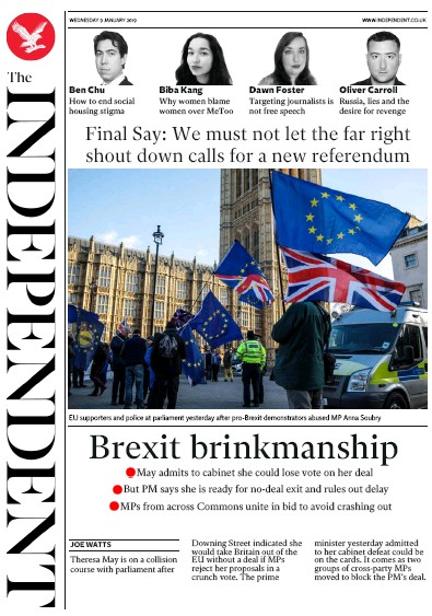 The Independent Newspaper Front Page (UK) for 9 January 2019