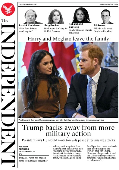 The Independent Newspaper Front Page (UK) for 9 January 2020
