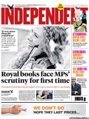 The Independent Newspaper Front Page (UK) for 9 February 2013