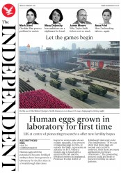 The Independent (UK) Newspaper Front Page for 9 February 2018