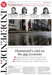 The Independent (UK) Newspaper Front Page for 9 March 2017