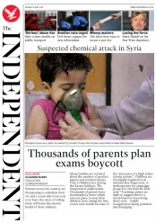 The Independent (UK) Newspaper Front Page for 9 April 2018