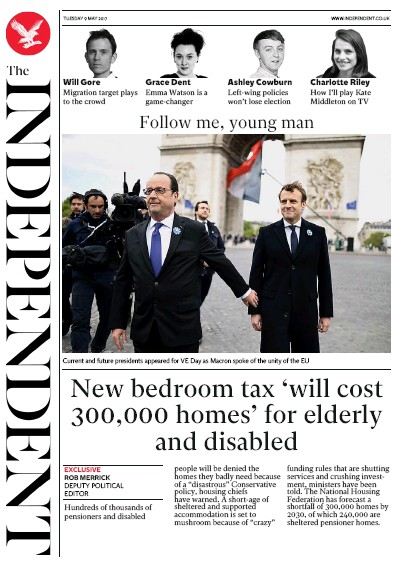 The Independent Newspaper Front Page (UK) for 9 May 2017