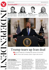 The Independent (UK) Newspaper Front Page for 9 May 2018