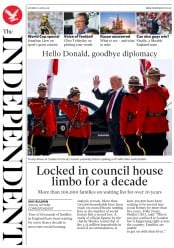 The Independent (UK) Newspaper Front Page for 9 June 2018