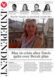 The Independent (UK) Newspaper Front Page for 9 July 2018