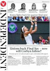 The Independent (UK) Newspaper Front Page for 9 July 2019