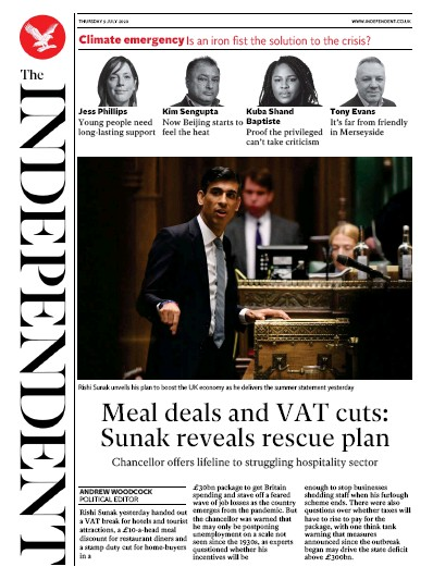 The Independent Newspaper Front Page (UK) for 9 July 2020