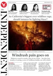 The Independent (UK) Newspaper Front Page for 9 August 2018