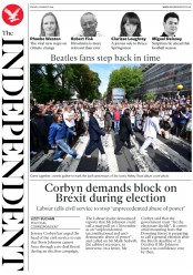 The Independent (UK) Newspaper Front Page for 9 August 2019
