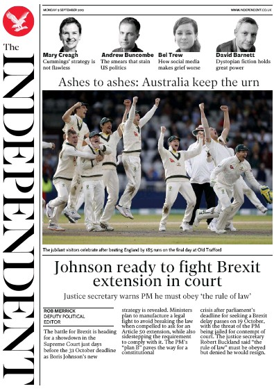 The Independent Newspaper Front Page (UK) for 9 September 2019