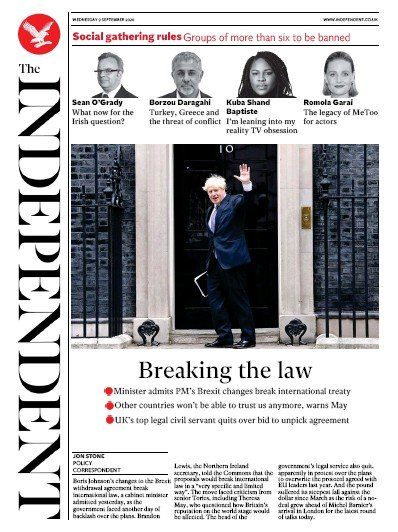 The Independent Newspaper Front Page (UK) for 9 September 2020