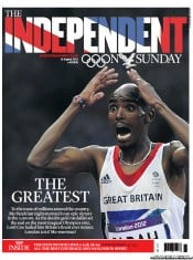 The Independent on Sunday () Newspaper Front Page for 12 August 2012