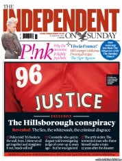 The Independent on Sunday Newspaper Front Page (UK) for 16 September 2012