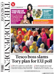 The Independent on Sunday (UK) Newspaper Front Page for 19 April 2015