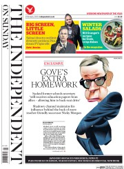 The Independent on Sunday (UK) Newspaper Front Page for 1 February 2015
