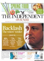 The Independent on Sunday Newspaper Front Page (UK) for 1 April 2012