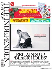 The Independent on Sunday (UK) Newspaper Front Page for 21 December 2014