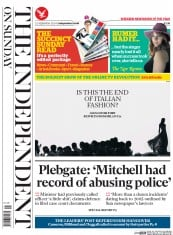 The Independent on Sunday (UK) Newspaper Front Page for 21 September 2014