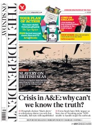 The Independent on Sunday (UK) Newspaper Front Page for 23 November 2014