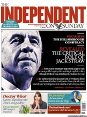 The Independent on Sunday Newspaper Front Page (UK) for 23 September 2012