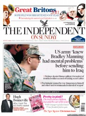 The Independent on Sunday Newspaper Front Page (UK) for 25 December 2011