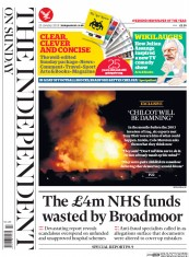 The Independent on Sunday (UK) Newspaper Front Page for 25 January 2015