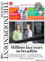 The Independent on Sunday (UK) Newspaper Front Page for 26 October 2014