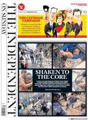 The Independent on Sunday (UK) Newspaper Front Page for 26 April 2015